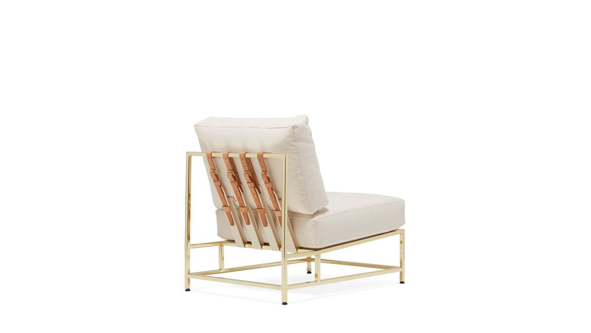 Natural Canvas & Polished Brass Chair