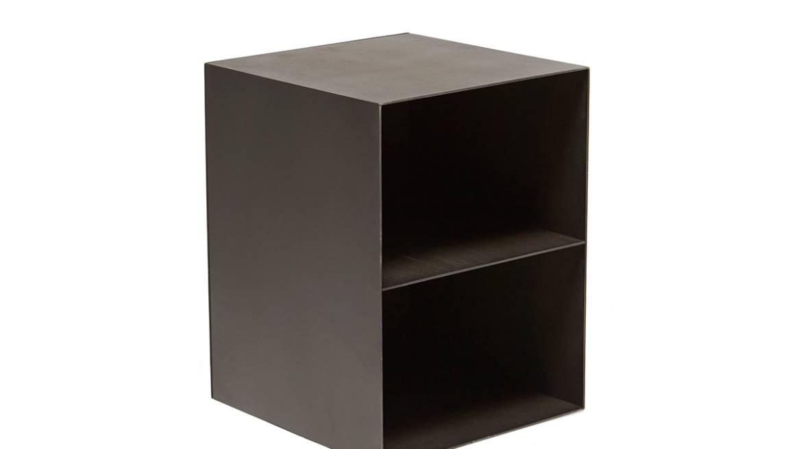 Blackened Steel & Antique Brass Block Table