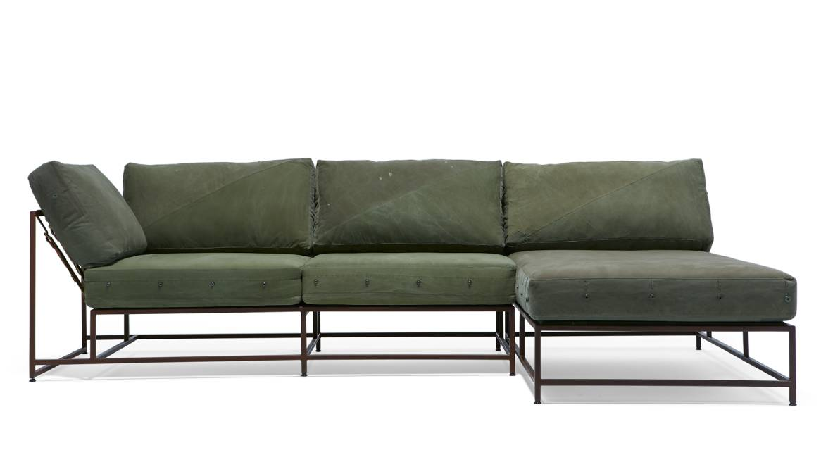 Military Canvas & Marbled Rust Small Sectional