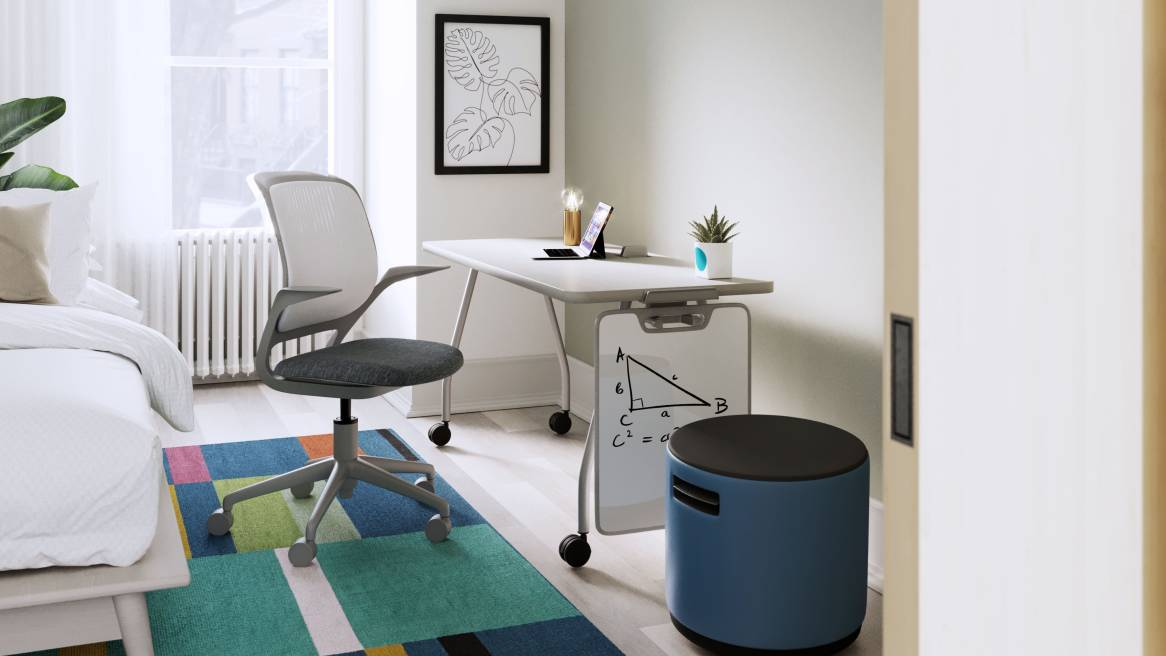 home office with whiteboard, blue buoy, mobile desk and cobi chair