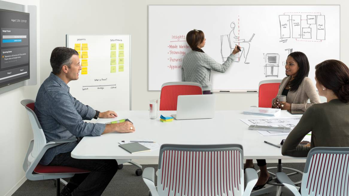 Collaborative office space equipped with a Groupwork Mobile Screen, Premium Whiteboard, media:scape Table and Cobi Stools.