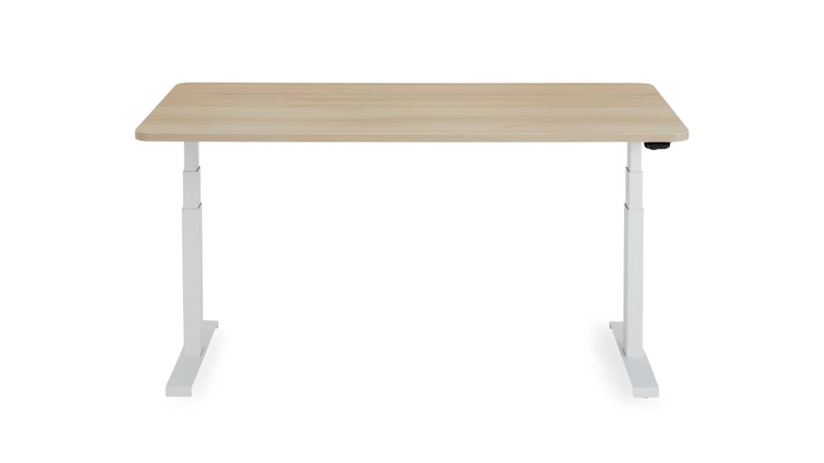 on white image of Solo Sit-to-Stand wooden desk