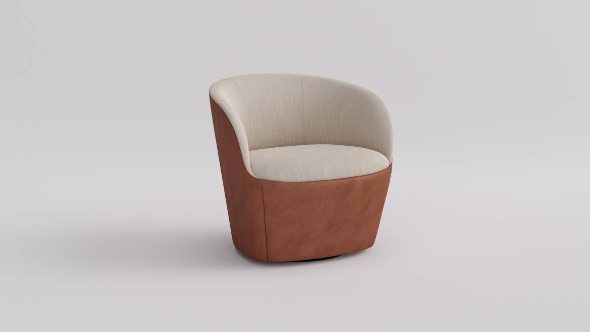 Brown West Elm Work Willow Lounge Chair on gray background