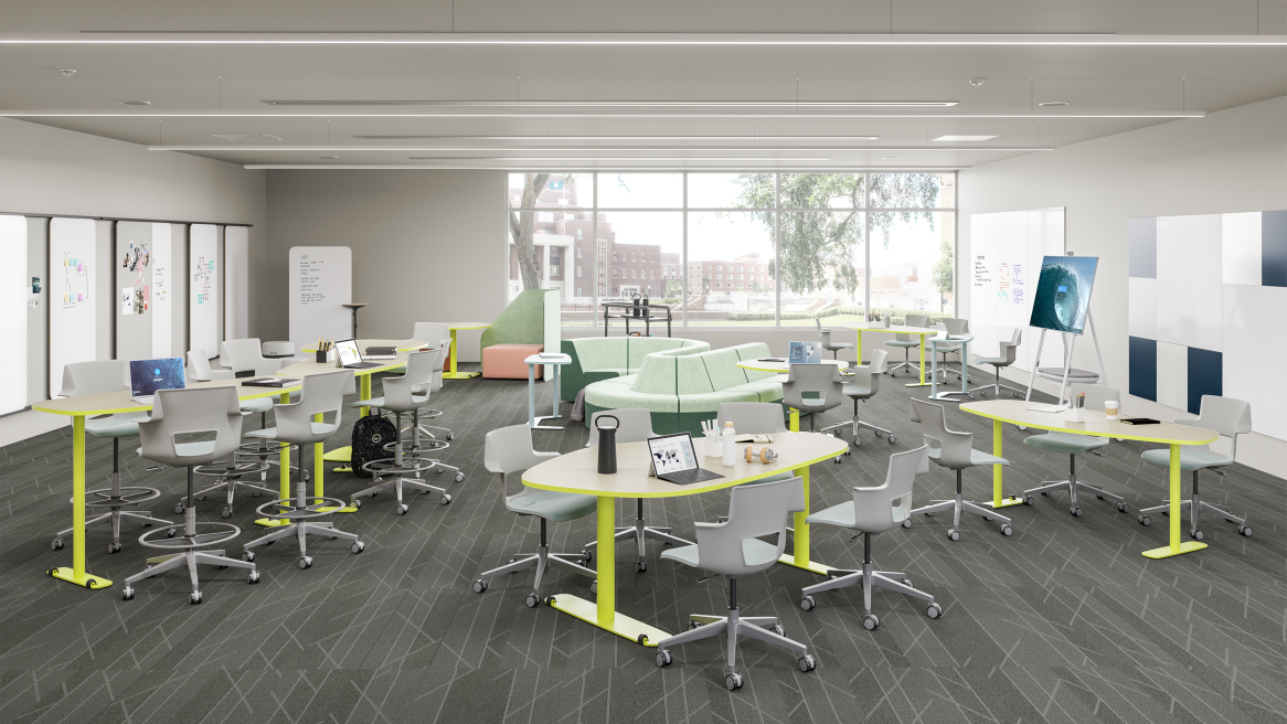Social Learning Classroom equipped with white Elbrook Tables and light-gray Steelcase Node Chairs.
