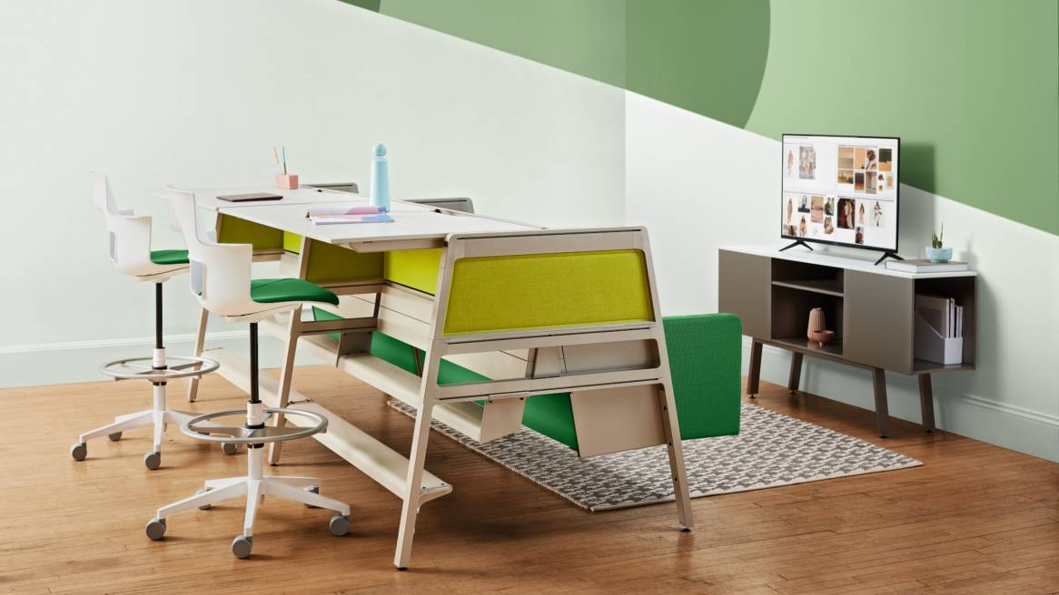 Bivi Team Theater, Table Frame, Panels and Arch Infills in citron color, Shortcut Stools