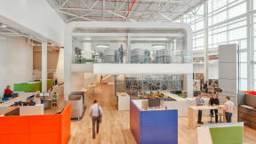 Steelcase's new leadership community includes private rooms, semi-private enclaves and conference rooms built to connect a global workforce