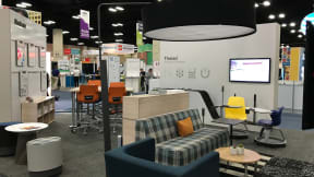 Thread showroom with Node stools, Campfire big lamp, Buoy seat, whiteboards, sofas at ISTE