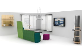 A rendering of a space that features Steelcase Flex carts with markerboards and a Flex Stand