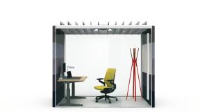 Orangebox AIR 3 Pod, Ology Desk, Gesture, Blu Dot Splash Coat Rack, CF Series Monitor Arm, FLOS Tab T Led, SOTO Tool Box, SOTO Desk Pad Planning Idea