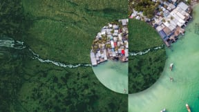Photo showing the intersection of natural and human environments, capturing our interconnectedness and impact on the planet.
