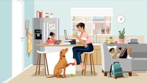 illustration of a woman working on a kitchen counter while his daughter is doing homework and son is using a cellphone