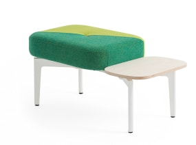 Bassline Bench Seating with green upholstery and side table
