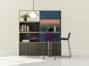 Three Coalesse Montara650 stools with purple upholstery around a Mackinac worksurface