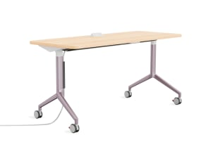 Groupwork Flip-Top Training Table with light wood top and metallic lilac legs on white background.