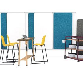 Cavatina Barstool, Flex Wall Rail, Flex Whiteboard, Flex Cup, Flex Board Cart, Flex Power Hanger, Flex Basket, Flex Freestranding Screens, Flex Slim Table, Flex Team Cart