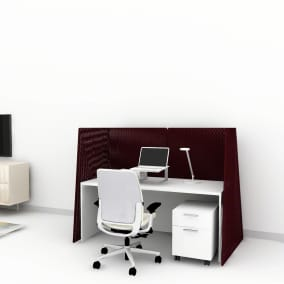 Rendering of a home office with Currency desk, amia chair, dash mini light, campfire screen, turnstone mobile storage