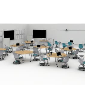 Campfire Big Table, Move Stool, Verb Team Table, Node Stool, Verb Trapezoid Table, Polyvision A3 Ceramicsteel Flow Whiteboard, Verb Rectangle Table, Scoop Stool, Verb Personal Whiteboard, Verb Teaching Station, Verge Stool, Power Hub Thread Planning Idea