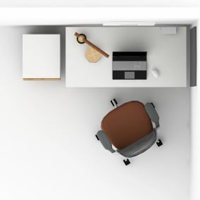 work from home setting with Steelcase Series 1 chair, West Elm greenpoint desk, mobile pedestal and soto charger