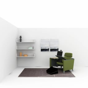 setting of a work from home space with a green brody worklounge and campfire footrest