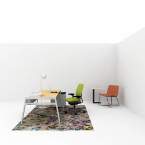 work from home setting with bivi desk, west elm slope lounge, Amia chair, soto worktools