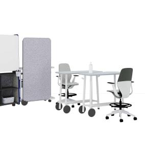 Flex Huddle Hub, Flex Tables, Flex Team art Flex Screens, Flex Stand, Sliq Stool, Flex Power, Flex Accessories