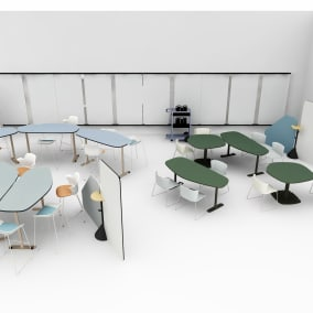 Coalesse, Wrap Chair Steelcase, Node Chair Steelcase, Scoop Stool Steelcase, Flex Mobile Cart Steelcase, Markerboard Steelcase, Stand Steelcase, Elbrook tables