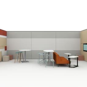 Steelcase Enea Stool, Steelcase Ottoman, Steelcase Ready Barstool, Steelcase Sistema Lounge, Steelcase VIA Walls, Steelcase Elbrook