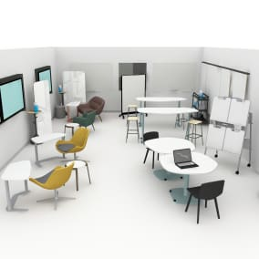 Steelcase Elbrook table, Orange Box Avi Chair, Bolia Mix Coffe Table, Steelcase Flex Markerboard, Bolia C3 Armchair, Bolia Philipa chair, Bolia Facet High barstool, Steelcase Verb Personal Markerboard, Steelcase VerbEasel, Steelcase Flex Team Cart, Bolia Valby Dining Chair