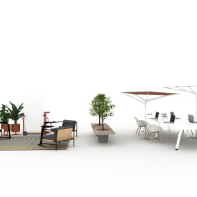 Extremis Acacia Shade, Extremis Captain's Chair, Extremis Marina Double Desk, Extremis Romeo&Juliet Bench, BluDot Circula Table, BluDot Plot Planter, Nanimarquina Mesh Outdoor Rug, Steelcase Flex Collection, Steelcase SOTO Worktools