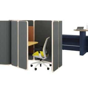 Steelcase Series 2 Chair, Steelcase Flex Mobile Power, Orangebox Coppice, Orangebox Border