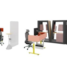 Steelcase Migration SE Pro, Steelcase Sarto Screens, Steelcase Flex Stand Table, Steelcase Flex Whiteboard, Steelcase SOTO Personal Caddy