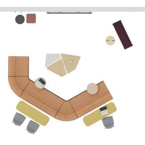 Steelcase Flex Collection, Steelcase B-free Beam, Steelcase Flex Mobile Power, Turnstone Campfire Lounge, Turnstone Bassline Table, Orangebox Lapwing, Orangebox Bligh & Fletcher, Orangebox Cubb Stool