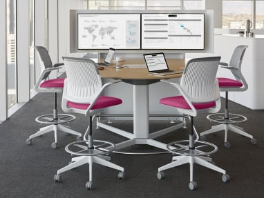 media:scape Dual Monitor D-Shape Table Environment