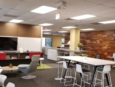 Work cafe featuring Montara650 stools, Potrero415 table, Shortcut 5-star base chair, Scoop stools, and Massaud lounge seating