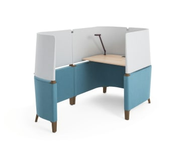 Brody Desk with blue and gray screens.