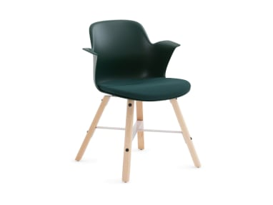 Node Chair by Steelcase with wood legs and dark green seat