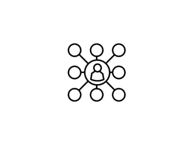 Digital black and white line drawing of a figure inside a circle representing a network.