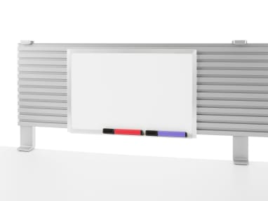 A blank markerboard attached to a slatwall