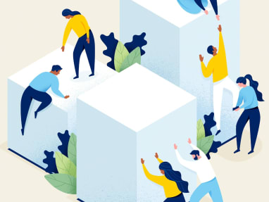illustration of people climbing walls, people on top helping them.