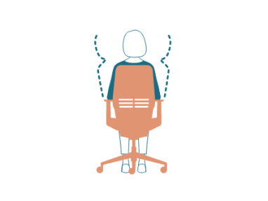 illustration of the back view of a chair with a woman sitting in it