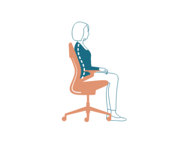 illustration of the side view of a chair with a woman sitting in it
