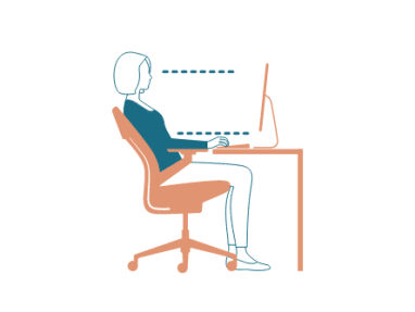 illustration of the side view of a work space with a woman sitting in a chair on the computer