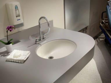 Corian sink counter in hospital room
