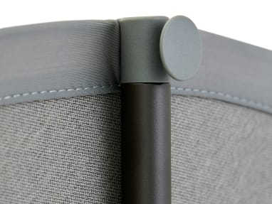 close up to a gray boundary tent screen