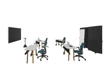 Collaboration space with SILQ chairs and Steelcase Flex Collection
