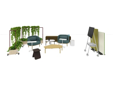 Social space with Steelcase Roam Collection, Divisio Acoustic Screen, Lagunitas personal table, Volum Art, Tuk coffee table and X-Stool