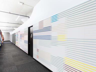 hallway with stripe wall
