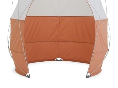 close up to an orange pod tent