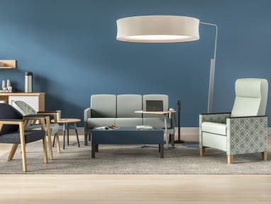 waiting room with Leela, Embold, Mitra, Campfire Big Lamp, Convey, Skate Table, Thread