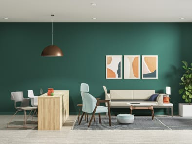setting with B-Free Cube, Flos Skygarden Pendant Lamp, Universal Storage, Shortcut X-Base, Campfire Big Table, Brody Footrest, Embold, Surround, Sage Green Life Verdanta, Regard Bench, Millbrae Side Table, Blu Dot Collect Rug